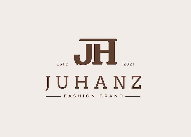 Początkowy szablon projektu logo litery jh, ilustracje wektorowe