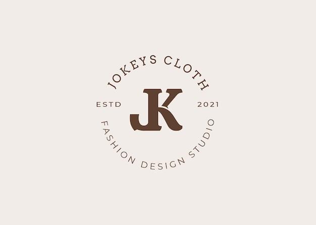 Początkowy szablon projektu logo litery jk, styl vintage, ilustracje wektorowe