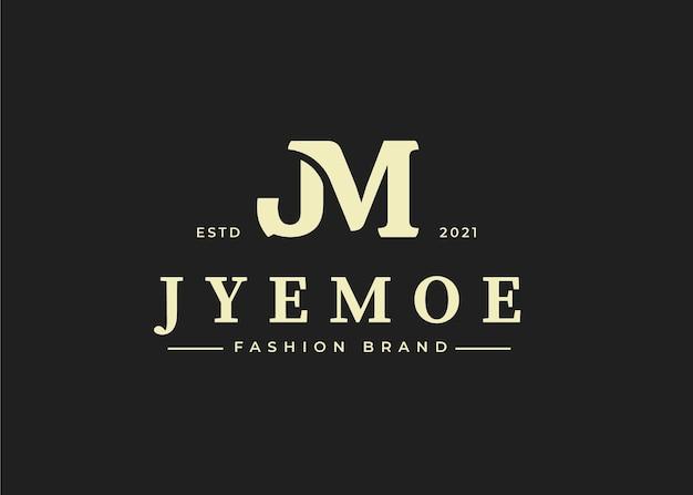 Początkowy szablon projektu logo litery jm, ilustracje wektorowe