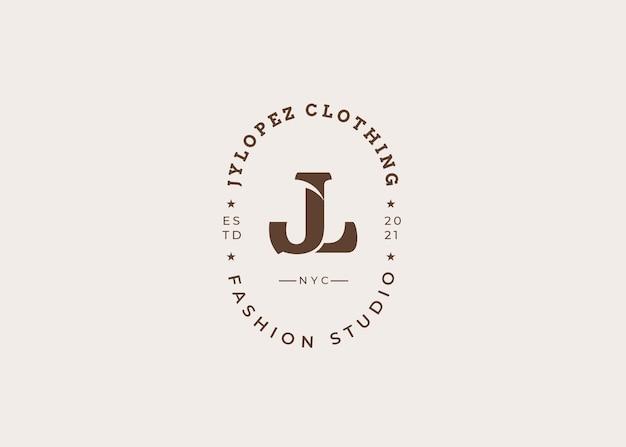 Początkowy szablon projektu logo litery jn, styl vintage, ilustracje wektorowe