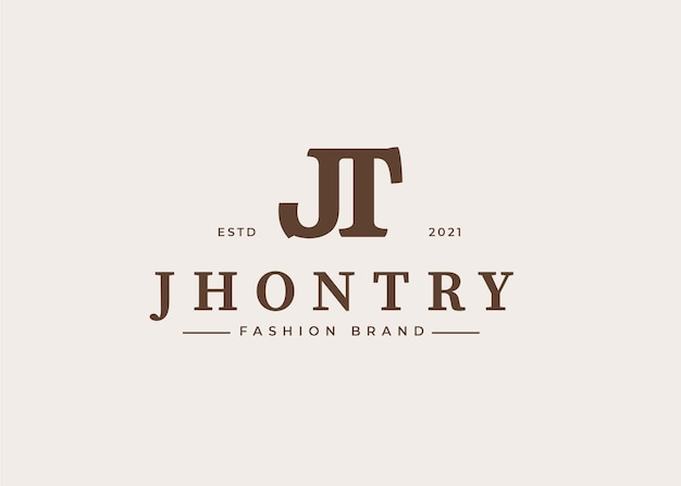 Początkowy szablon projektu logo litery jt, ilustracje wektorowe