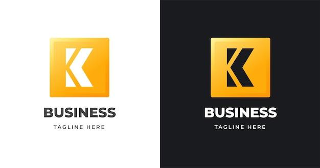 Początkowy szablon projektu logo litery k z ilustracją projektu w kształcie kwadratu