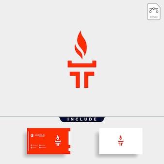 Początkowy t torch logo szablon wektor projekt płomień ikona