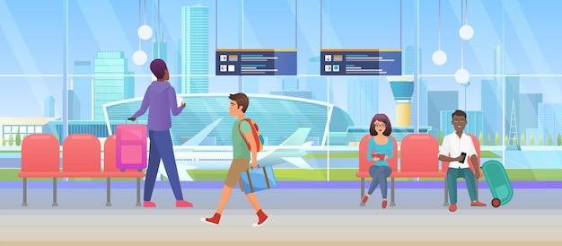 Poczekalnia przylotu na lotnisko międzynarodowy salon odlotów i pasażerowie turystyczni