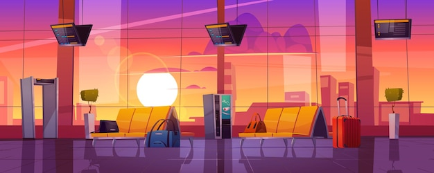 Poczekalnia w terminalu lotniska z krzesłami, skanerem bagażu i wyświetlaczem rozkładu jazdy