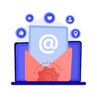 Poczta elektroniczna. odbieranie i wysyłanie e-maili. wymiana wiadomości za pomocą urządzenia elektronicznego. połączenie internetowe, komunikacja, ilustracja koncepcja korespondencji