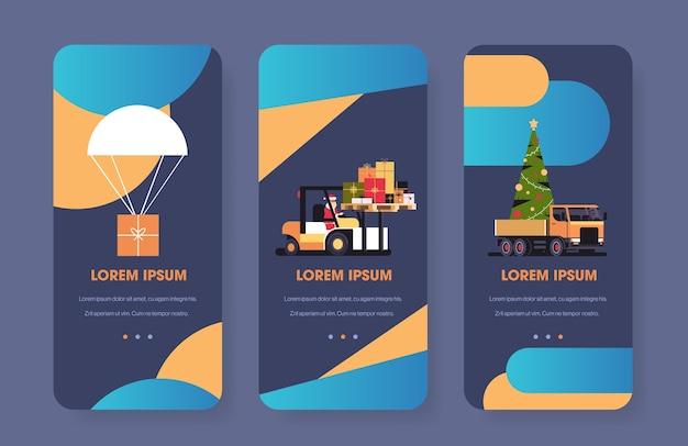 Poczta lotnicza pudełko prezentowe przedstawia dostawę koncepcja wysyłki ekrany smartfonów zestaw wesołych świąt bożego narodzenia uroczystość koncepcja pozioma kopia przestrzeń wektor strona internetowa