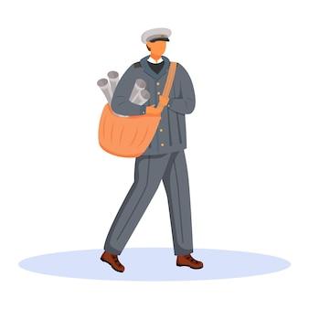 Poczta mężczyzna pracownik płaski kolor ilustracja. pracownik ubrany staromodny. tradycyjny unifrom usług pocztowych. paperboy z gazetami na białym tle postać z kreskówki na białym tle