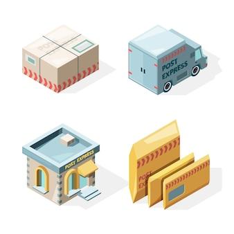 Poczta. usługa dostarczania poczty i paczek ładunek skrzynka pocztowa listonosz pracownik izometryczny zdjęcia