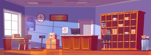 Poczta, usługi dostarczania i przechowywania przesyłek, paczek, zamówień i gazet. rysunkowe wnętrze poczty z ladą, kartonami i listami na półkach, skrzynka pocztowa