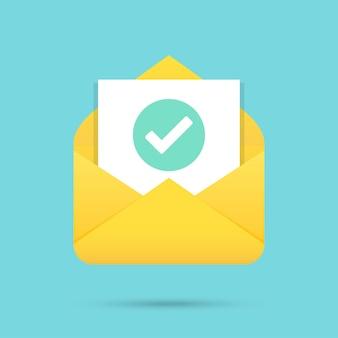 Poczta z ikoną dokumentu z zielonym znacznikiem wyboru płaska
