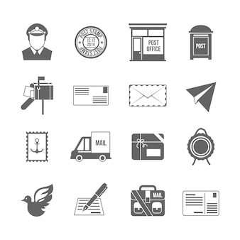 Pocztowej ikony biurowych