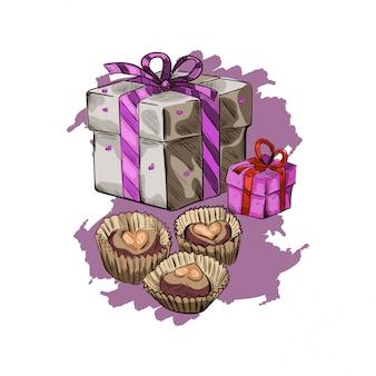 Pocztówka 14 lutego, prezent w ozdobnym opakowaniu i czekoladzie.