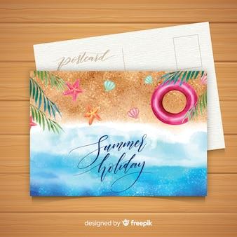 Pocztówka akwarela wakacje letnie
