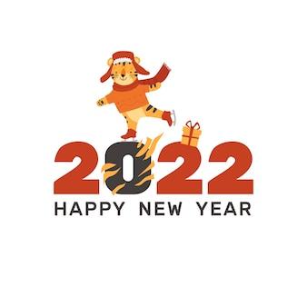 Pocztówka baner szczęśliwego nowego roku 2022 obraz tygrysa symbol chińskiego wektora