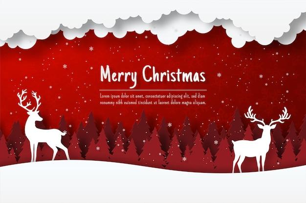 Pocztówka bożonarodzeniowa przedstawiająca renifera w lesie, ilustracja cięcia papieru