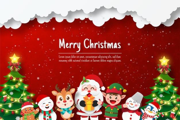 Pocztówka bożonarodzeniowa świętego mikołaja i przyjaciela, ilustracja cięcia papieru