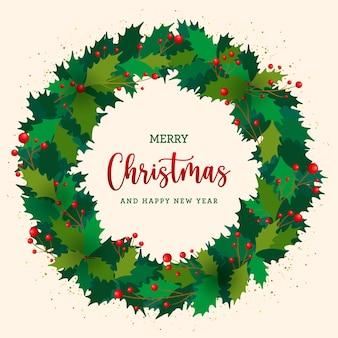 Pocztówka bożonarodzeniowa z płaskim wieńcem jemioły