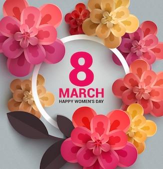 Pocztówka do 8 marca z papierowymi kwiatami.