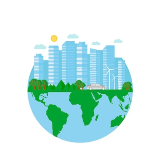 Pocztówka happy earth day z zielonym miastem, samochodem, turbiną wiatrową. koncepcja ekologii przyjaznej dla środowiska. światowy dzień środowiska tło. ocal ziemię.