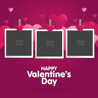 Pocztówka happy valentines day z pustym szablonem do zdjęć