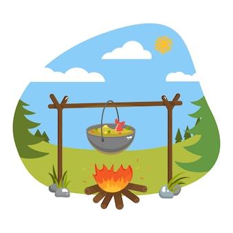 Pocztówka, jedzenie na świeżym powietrzu. ilustracja wektorowa. ogień, gulasz, zupa, rybi ogon, garnek, paluszki.