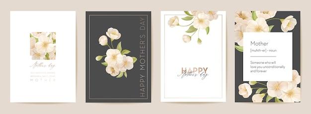 Pocztówka kwiatowy dzień matki. nowoczesna karta mama i dziecko. ilustracja wektorowa bukiet wiosna. powitanie realistyczny szablon kwiatów wiśni sakura, tło kwiat, projekt letniej imprezy dla matek