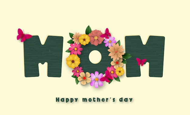 Pocztówka na dzień matki, z papierowymi kwiatami i listem w środku.