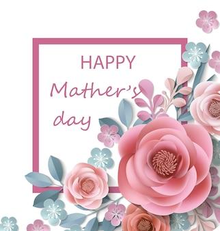 Pocztówka na dzień matki z papierowymi kwiatami szablon wektor