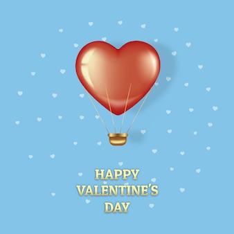 Pocztówka na walentynki. latający czerwony balon na niebieskim tle.