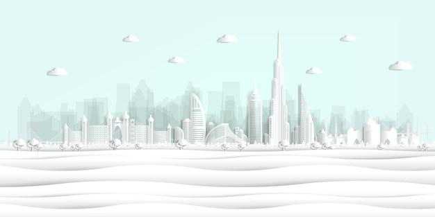 Pocztówka panoramy i plakat podróży światowej sławy zabytki styl cięcia papieru