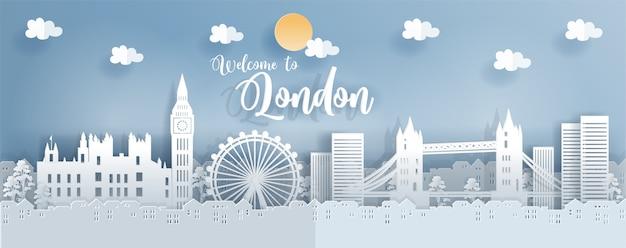 Pocztówka podróżna i plakat z londynem
