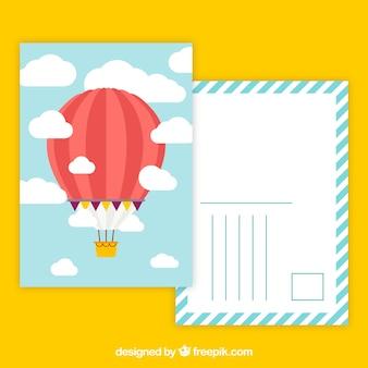 Pocztówka podróżna z balonem