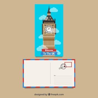 Pocztówka podróżna z big bena w stylu płaskiej