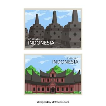 Pocztówka podróżna z indonezyjską architekturą
