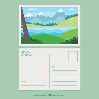 Pocztówka podróżna z krajobrazem