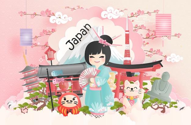 Pocztówka podróżnicza, plakat, reklama wycieczek znanych na całym świecie zabytków japonii