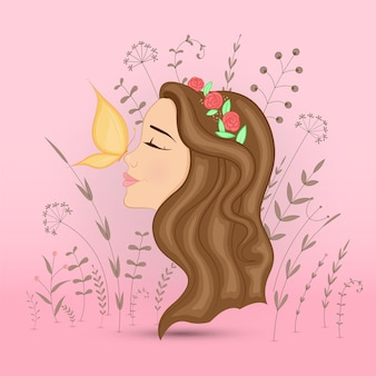 Pocztówka prezent z kreskówkową dziewczyną zwierząt. dekoracyjne tło kwiatowy z gałęzi i roślin.