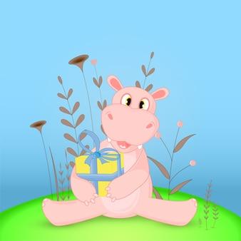Pocztówka prezentowa z kreskówkowym hipopotamem. dekoracyjne tło kwiatowy z gałęzi i roślin.