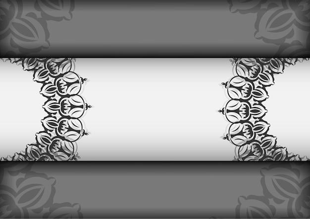 Pocztówka projekt wektor białe kolory z mandale. projekt karty zaproszenie z miejscem na twój tekst i ozdoby vintage.