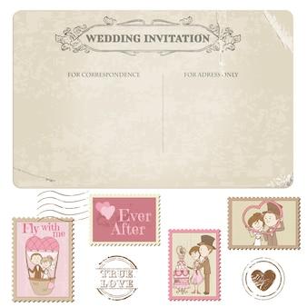 Pocztówka ślubna i znaczki pocztowe