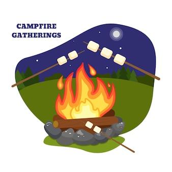 Pocztówka. spotkania przy ognisku. ilustracja wektorowa. ogień, ognisko, obóz, noc, ptasie mleczko, bajki na dobranoc.