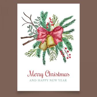 Pocztówka świąteczna z dzwonkiem i kokardą