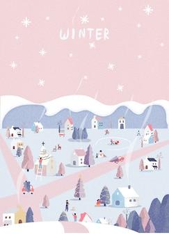 Pocztówka świąteczna zimowa krajobrazowa. retro pastelowy różowy kolor. kraina czarów z chaty, bałwana i jelenia. ludzie szczęśliwi