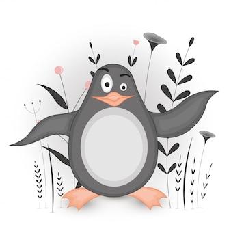 Pocztówka upominkowa z pingwinem zwierząt kreskówek. dekoracyjny kwiecisty tło z gałąź i roślinami.