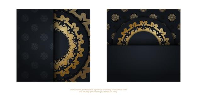 Pocztówka w kolorze czarnym ze wzorem vintage gold przygotowana do typografii.