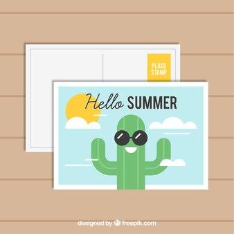 Pocztówka wakacje lato w stylu płaski