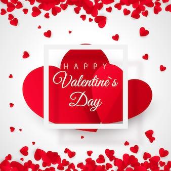 Pocztówka walentynki. dwa duże serca w białej ramce z tekstem - happy valentines day. 14 lutego wakacje. baner strony internetowej z gratulacjami. plakat romantyczny. ilustracja