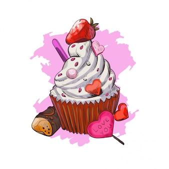Pocztówka z 14 lutego, słodki prezent i ilustracji wektorowych cukierków.