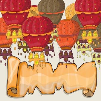 Pocztówka z balonów na ogrzane powietrze - wektor do projektowania